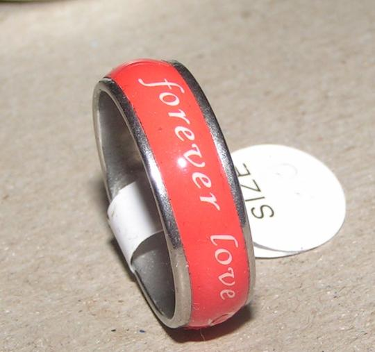 Silver/Red Bogo Free Save Enamel Forever Love Free Shipping Ring