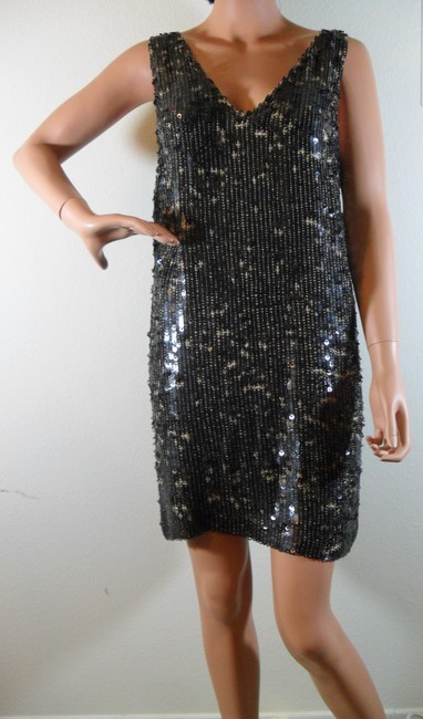 Alexia Admor Sequin Shift Sequined Sleveless Small New Nude Silk Dress