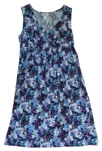 Ann Taylor LOFT short dress multi, floral, blue, purple, white V-neck Sleeveless Empire Waist on Tradesy
