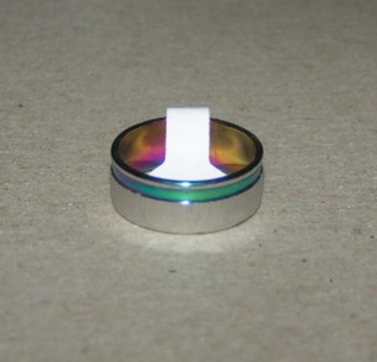 Silver/Multi Colored Bogo Free Mix Match Free Shipping Stainless Rainbow Ring Women's Wedding Band