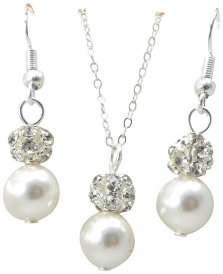 Other Bridal jewelry Rhinestone Crystal Wedding Pearl Earrings and necklace