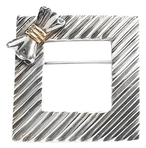 Tiffany & Co. Tiffany & Co. Vintage Sterling Silver & 14 Karat Yellow Gold Square Pin Brooch
