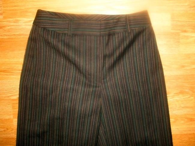 Isabella DeMarco Dress Size 2 Cuffed Business Casual Summer Capri/Cropped Pants BLACK BROWN GREEN MAROON PIN STRIPED