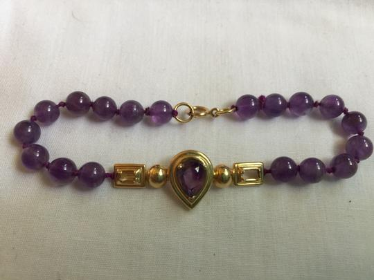 Other 14K YELLOW GOLD AND AMETHYST BRACELET-LARGE GOLD ENHANCING BAR