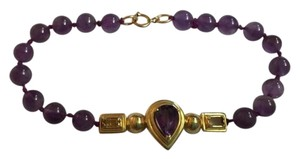 AUTHENTIC 14K YELLOW GOLD AMETHYST BRACELET WITH LARGE CENTER OF GOLD