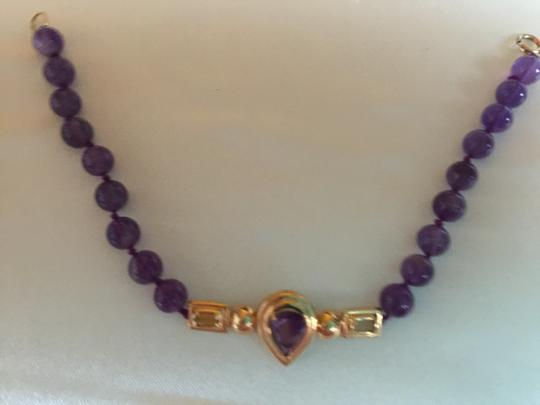 Other 14K YELLOW GOLD AND AMETHYST BRACELET