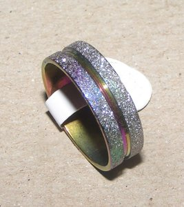 Dusted Tempered Stainless Steel Band Ring Free Shipping