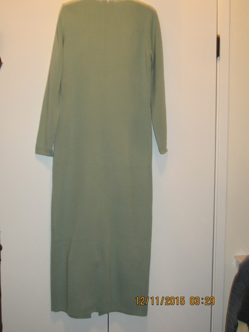 sage green Maxi Dress by Adrienne Vittadini Mother Of Pearl Wool Maxi Longsleeve Vintage
