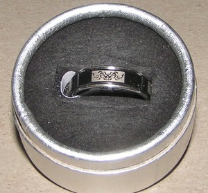 Black & Silver Stainless Etched Spinner Ring Free Shipping