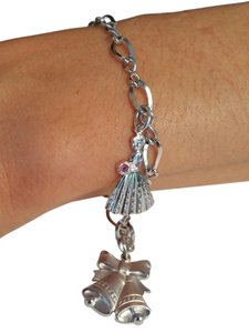 Sterling Silver 18k Gold Plated Charm Bracelet with a pink Sapphire