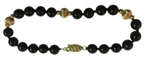 Other 14K YELLOW GOLD AND ONYX BEAD BRACELET WITH DOUBLE SAFETY CLASP