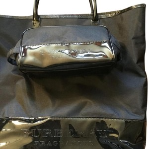 Burberry Weekend Travel Tote in Black With Patent Band At Bottom