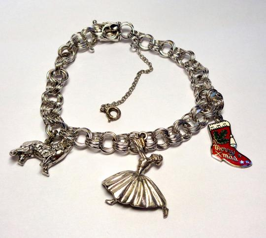Other Sterling Silver 18k Gold Plated Charm Bracelet, 7.5 in