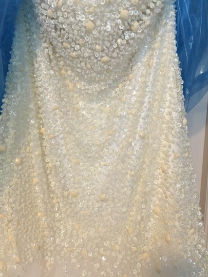 Sherri Hill Ivory Sequin and Tulle 21280 Formal Wedding Dress Size 10 (M)