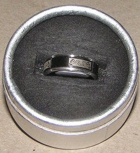 2 Tone Stainless Steel Etched Spinner Ring Free Shipping