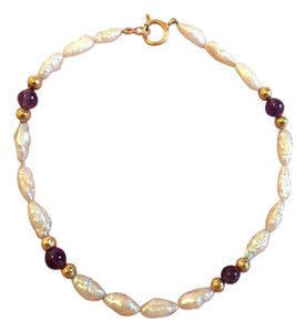 Other 14K YELLOW GOLD, PEARL AND AMETHYST BEAD BRACELET