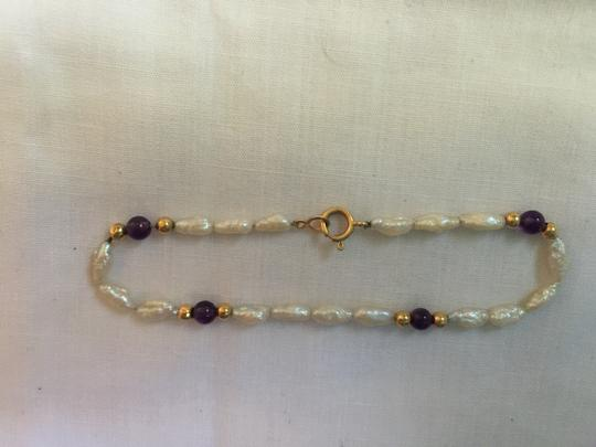 Other 14K YELLOW GOLD, PEARL AND AMETHYST BRACELET