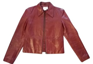 A|X Armani Exchange Leather Fitted Red Leather Jacket