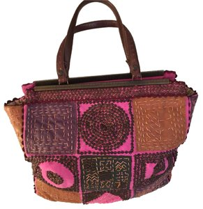 Jamin Puech Satchel in Pink, Purple, Tan
