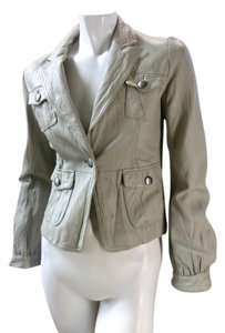 Mossimo Supply Co. Retro Lined Lapel Cropped 2120 stone gray Leather Jacket