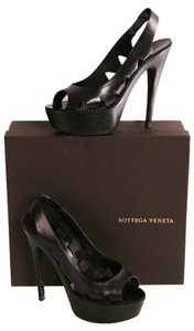 Bottega Veneta Leather Platform Heels Peep Toe Sling Black Pumps