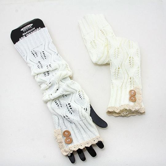 We Do Luxury Knitted Lace Trim Buttoned Fingerless Thumb Hole Arm Warmer Gloves