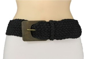Other Women Fashion Black Braided Belt Hip Waist Big Square Fashion Wood Buckle