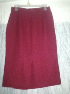 Aquascutum Of London Classic Wool Paisley Straight Pencil Made In England Size 10 Size 12 Skirt red