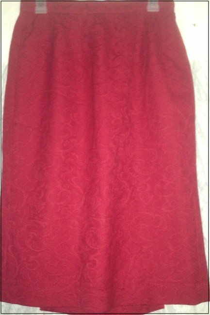 Aquascutum London Classic Wool Paisley Straight Pencil Made In England Size 10 Size 12 Skirt red