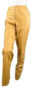 Ralph Lauren Black Label Leather Straight Leg Straight Pants Tan