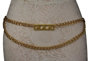 Women Fashion Belt Metal Chain Fashion Links Hip High Waist Gold Long Charm Large