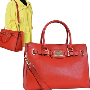 c14b5edf3ce1 Michael Kors Mandarin Orange Tangerine Hamilton Large Hamilton Satchel in  Red