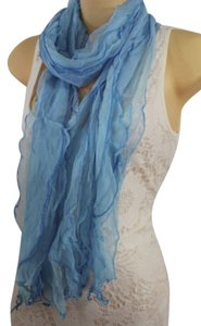 Women Classic Fashion Soft Fabric Long Neck Scarf Long Necklace Wave Light Sky Blue