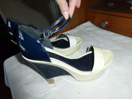 Chanel OFF WHITE DARK BLUE PATENT LEATHER Platforms