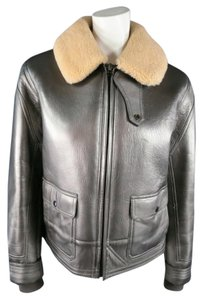 Ralph Lauren Rare Winter Shearling Heavy Silver Leather Jacket
