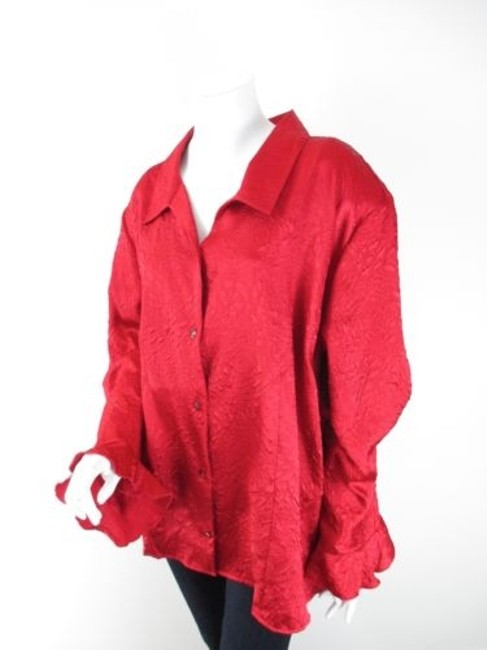 Preload https://img-static.tradesy.com/item/9034552/maggie-barnes-red-rose-imprint-ruffle-gem-button-front-blouse-shirt-top-4x-0-0-650-650.jpg