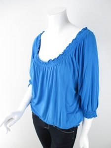 Soft Surroundings Stretch Peasant Shirt Top Blue