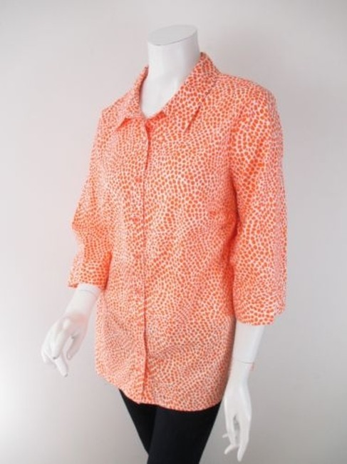 Preload https://item3.tradesy.com/images/denim-co-qvc-orange-white-giraffe-print-button-front-shirt-top-blouse-1x-9034612-0-0.jpg?width=400&height=650