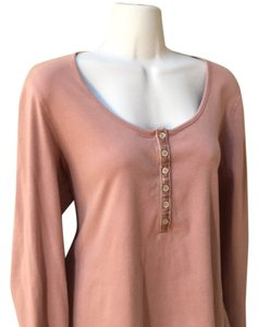 Boden Soft Henly Henley Earthy Tan Cotton Large 14 12 Terracotta Terra Cotta T Shirt Maive pink