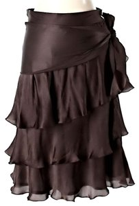 Zara Satin Tiered Ruffle Skirt Brown