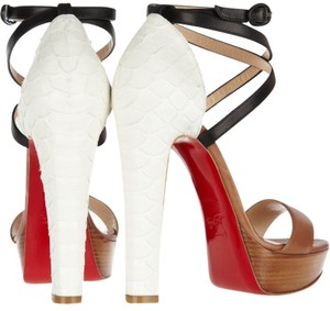 5e3309725217 Christian Louboutin Phython Embossed Leather White and Brown Sandals