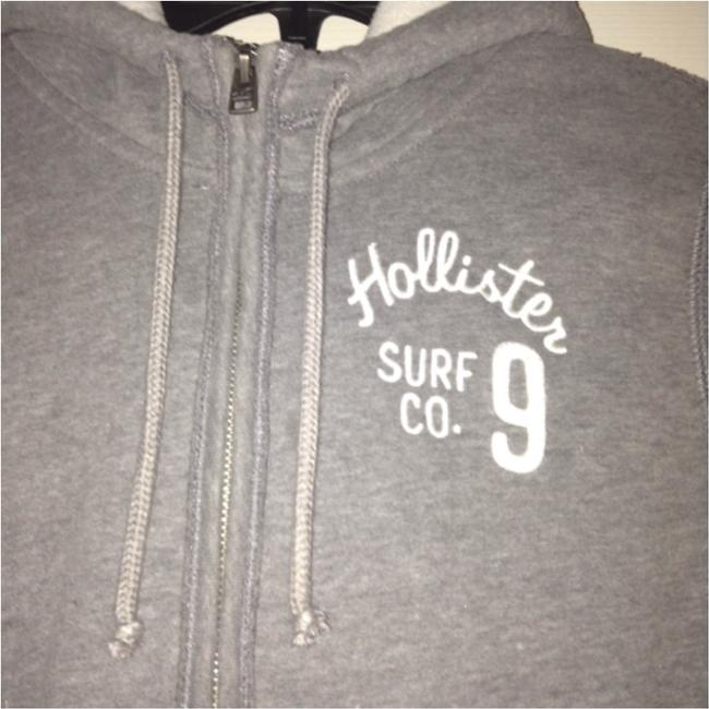 Hollister Coat Hooded Hood Hoodie White Zipper Zip-up Gray Jacket