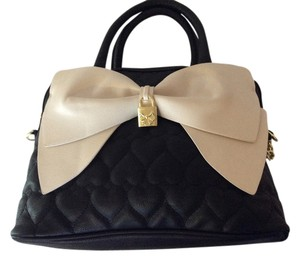 Betsey Johnson Satchel in Black with bone color bow