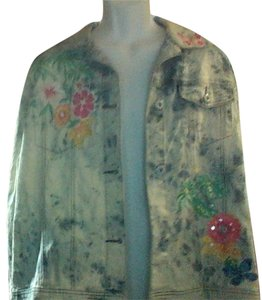 Diane Gilman Flower Applique Light Denim Womens Jean Jacket