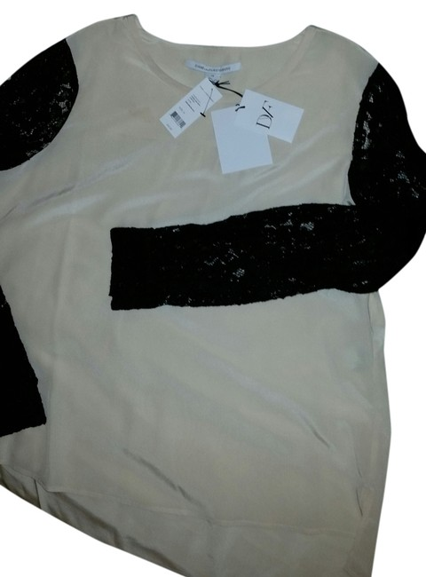 Preload https://item4.tradesy.com/images/diane-von-furstenberg-beige-black-louisa-cdc-with-lace-sleeve-blouse-size-14-l-9035653-0-2.jpg?width=400&height=650