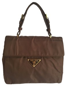 Prada Handbag Nylon Tote Satchel in Brown