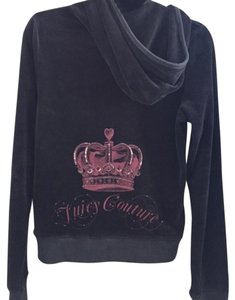 Juicy Couture MINT Juicy Couture dark gray velour/velvet jacket with hoodie