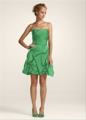 David's Bridal Green Short Strapless Pick Up Dress Style 84091 Dress