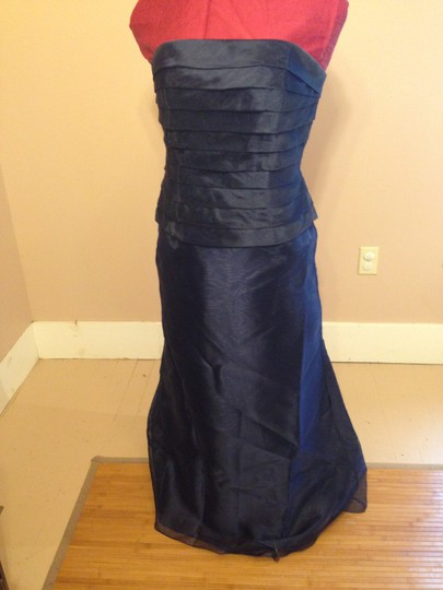 Alfred Sung Midnight Blue Organza T117 Formal Bridesmaid/Mob Dress Size 12 (L)