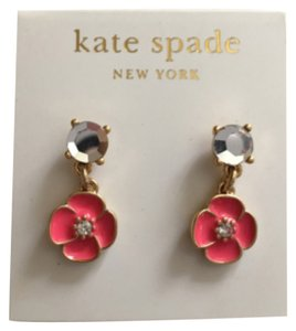 Kate Spade Kate Spade NY Gold Filled Pink Flower Dangle Drop Earrrings
